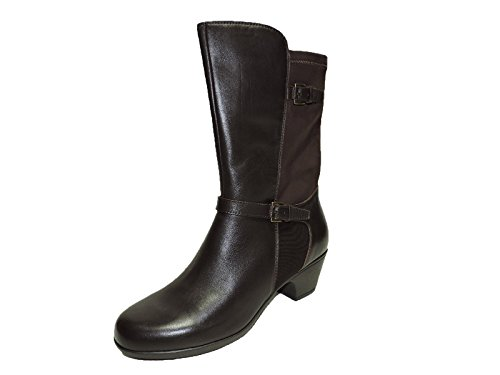 puresole-womens-radisson-dark-brown-leather-and-tretch-2-heels-moto-ankle-boots-size-11-m