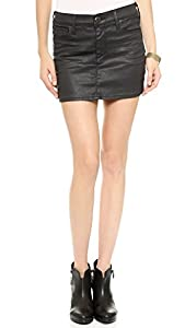 True Religion Women's Mia Coated Miniskirt, Oil Slick, 32