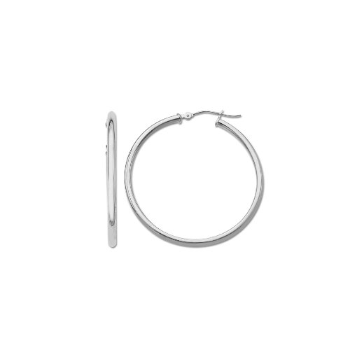 Klassics 10k White Gold Polished Hoop Earrings, (0.6