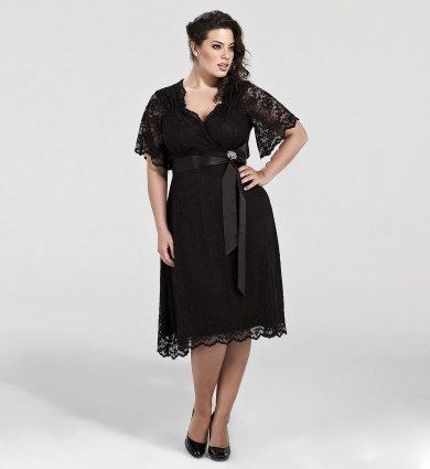 Plus Size Retro Glam Lace Dress in Black Lace/ Black Lining - Size 2X