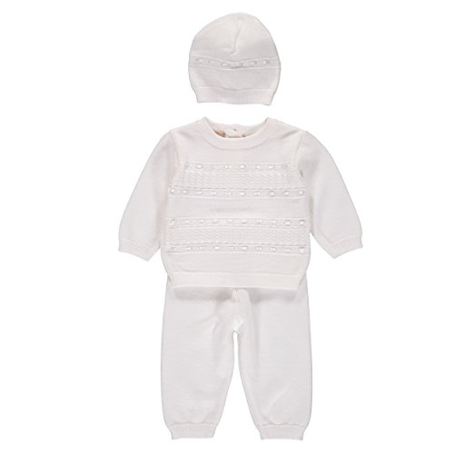Baby Boys' 2 Piece Knit Christening Bris Outfit White 3 Months