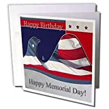 Beverly Turner Patriotic Design - Happy Memorial Day, Flag Eagle - Greeting Cards-12 Greeting Cards with envelopes
