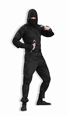 Amazon.com: Men's Deluxe Ninja Costume, Black, One Size: Adult Sized