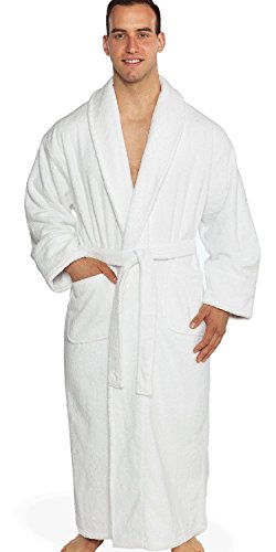 Turkishtowels Mens and Womens Original Terry Shawl Turkish Bathrobe, 100% Combed Pure Turkish Cotton Terry Robe (XS/S, White)