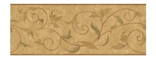 York Wallcoverings Europa II Vine Scroll Prepasted Border, Tan/Gold/Cocoa Brown/Moss Green