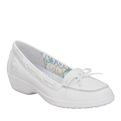 Nurse Mates Women's SARA White Dress Boat Shoes 6 M