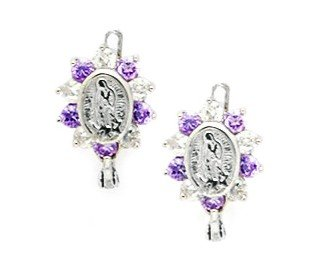 14ct White Gold February Birthstone Purple 3mm CZ Virgin Mary Leverback Earrings - Measures 15x9mm