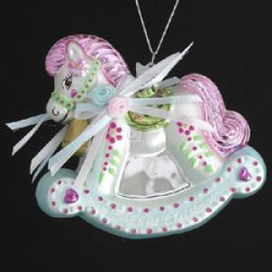 "3.75"" NOBLE GEMS GLASS BABY'S FIRST CHRISTMAS ROCKING HORSE Christmas Tree Ornament"