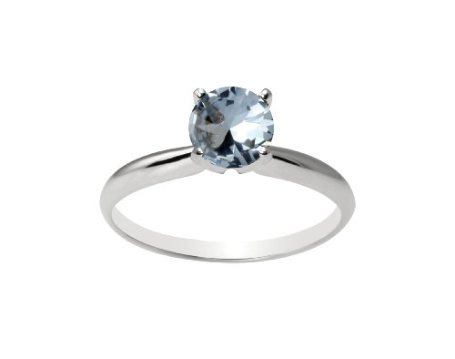 10k White Gold 6mm Round Created Aqua Gemstone Solitaire Ring (1.00 ct), Size 7