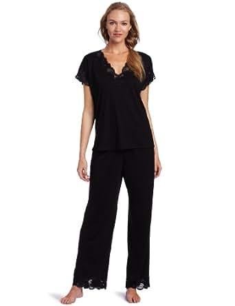 Natori Women's Zen Floral Pajama Set, Black, X-Small