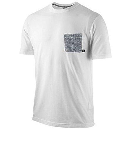 Air Jordan Men Fly Elephant Print Pocket T-Shirt (Large, White)