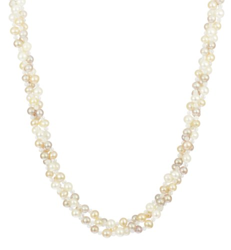 3 Row Multi-Pastel Freshwater Pearl and 3mm Rose Quartz Round Bead Necklace, 18