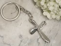 Beaded chrome silver Cross keychain, 24