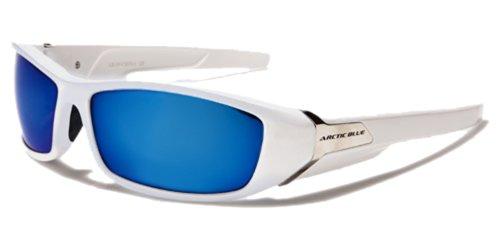 ArcticBlue-Lunettes-de-Soleil-Sport-Cyclisme-Ski-Conduite-Motard-Plage-Mod-Kite-Blanc-Bleu-Miroir-Taille-Unique-Adulte-Protection-100-UV400