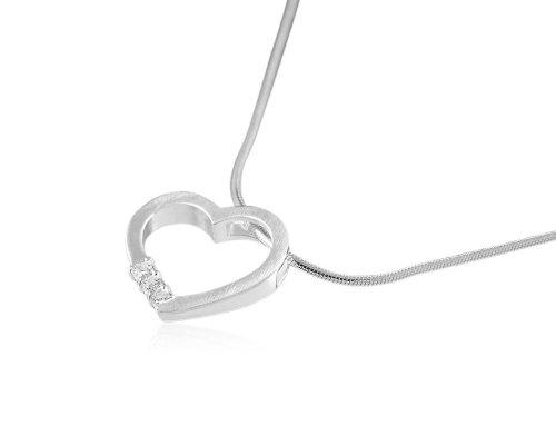 VINANI Anhänger Diamond Heart mit Kette 45 cm Silber 925 ADH45