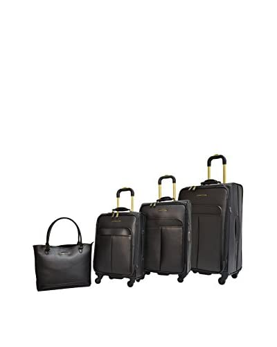 Adrienne Vittadini Etched 4-Pc Luggage Collection, Black