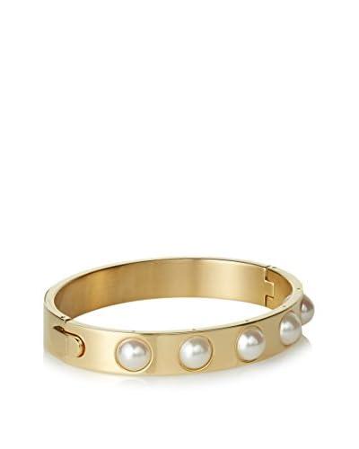 "Majorica Gold Inset Pearl Bangle Bracelet, 3"""
