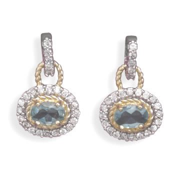 Rhodium Plated and 14 Karat Gold Plated Blue and Clear CZ Earrings