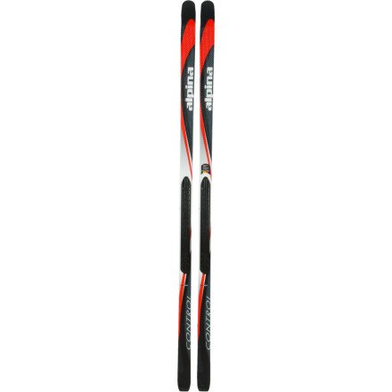 Alpina Control NIS Nordic Cross-Country Skis with Rottefella NNN NIS Easy-Attachment Binding Plate (Silver/Red - 182cm)