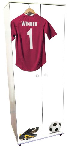 Burgundy Football Design Childrens/Kids White Wardrobe Bedroom Furniture