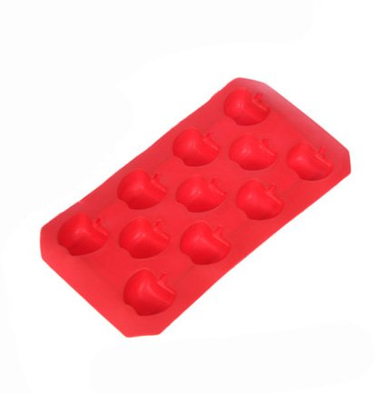 Buyinhouse Cute Party Food Decorations Tools 11 Cavities Fruit Apple Shape Ice Chocolate Sugar Silicone Cube Tray(Colour By Random)