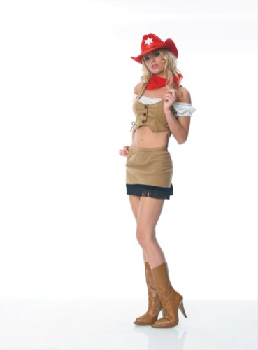 Sexy 5Pc Faux Suede Rodeo Cowgirl Halloween Costume