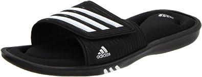 adidas Women's Adislide Sport FF Sandal,Black/White/Metallic Silver,11 M US