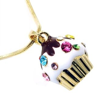 Adorable Juicy Inspired Small Gold Cupcake w/ Frosting and Sparkling Rainbow Crystal Sprinkles Necklace