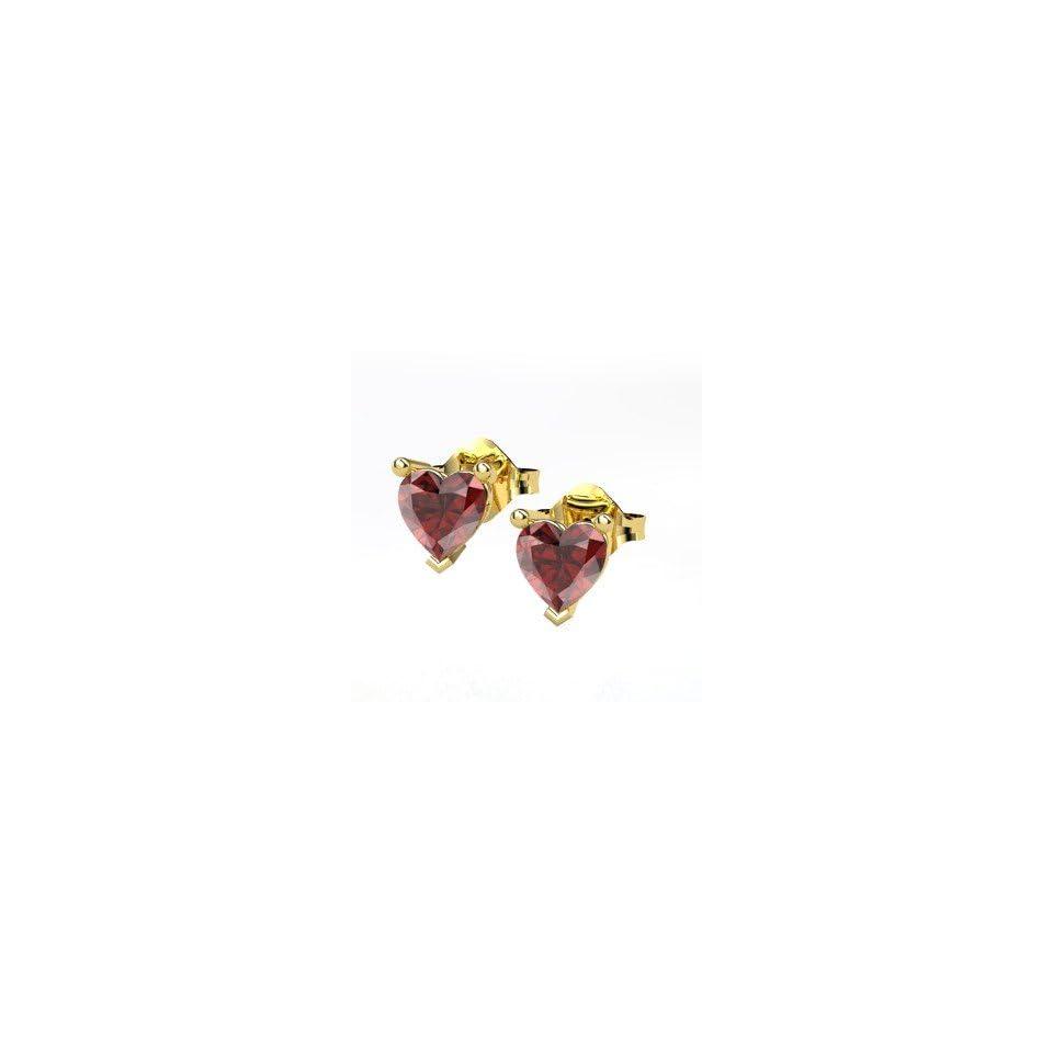 Stud Earrings, Round Red Garnet 14K Yellow Gold Stud Earrings Jewelry