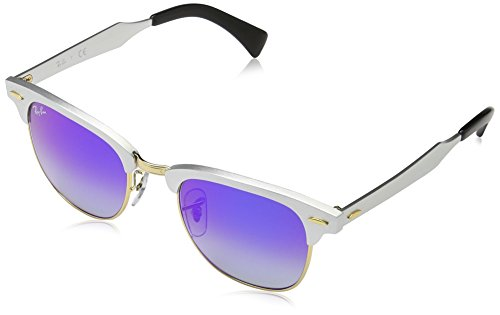 Ray-Ban-CLUBMASTER-ALUMINUM-BRUSHED-SILVER-Frame-BLUE-FLASH-GRADIENT-Lenses-49mm-Non-Polarized