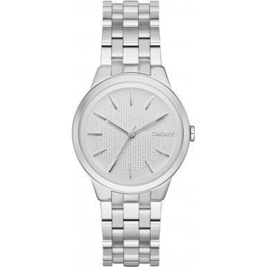 DKNY  NY2381 - Reloj de cuarzo con correa de acero inoxidable para mujer, color plateado