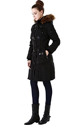 BGSD Women's Water Resistant Quilted Down Toggle Coat - Black S