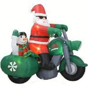 Gemmy - Santa Claus on Motorcycle with Snowman in Sidecar -