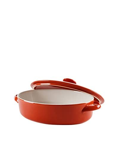 10 Strawberry Street Sienna Oval Bakeware With Lid, Red/White