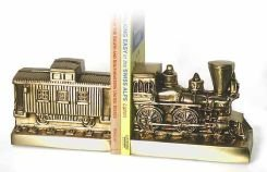 Pm Craftsman Train And Caboose Bookends Brass