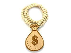 Natural Wooden Money Bags Pendant With a 36 Inch Necklace Chain Good Quality Wood