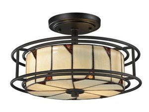 Dale Tiffany TH12456 DT Contempo Woodbury Semi Flush Mount Light Fixture, Dark Bronze by Dale Tiffany Lamps