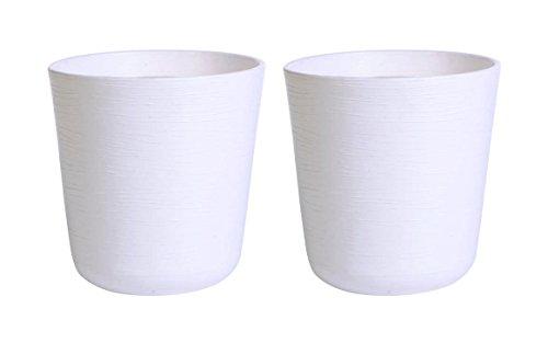 BELLO Plastic Flower Pot, White (2 Qty)