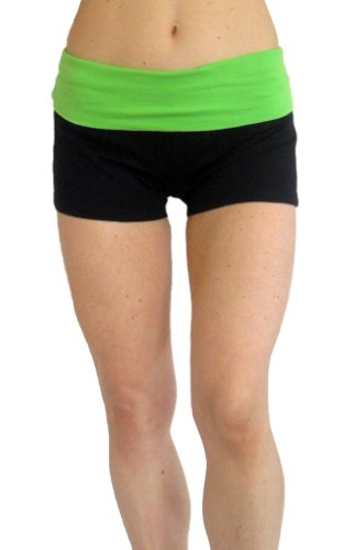 Black Fold Down Waist Yoga Short with Heather Gray waist