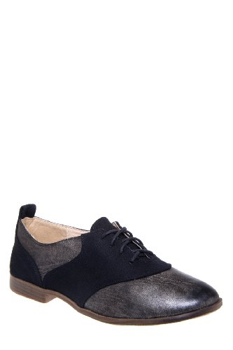 Restricted Bossy Two Tone Saddle Oxford Flat Shoe