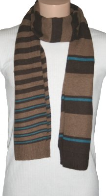 Ex Store Mens Brown & Blue Wool Mix Striped Scarf.