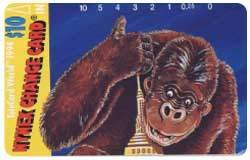 Collectible Phone Card: $10. Face: King Kong Surrounds Empire State Building (Top Card)