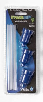 1 X FreshSip 3 Pack Replacement Filter Straws (Blue) (Freshsip Water Bottle System compare prices)