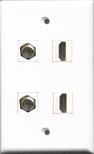 Riteav - 2 Port Hdmi 2 Port Coax Cable Tv- F-Type Wall Plate