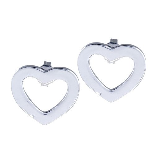 Pugster Open Heart Disc Earrings Sterling Silver Jewelry Stud Gift Ideas