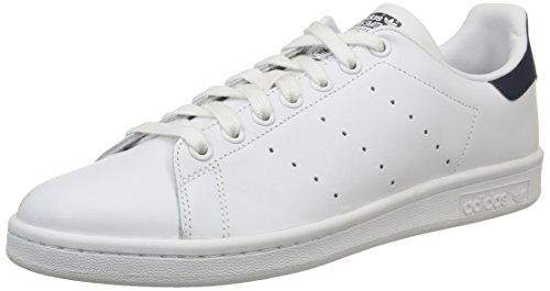 adidas Stan Smith, Scarpe Basse Unisex Adulto, Bianco (Running White/Running White/New Navy), 37 1/3