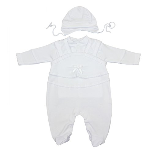 Taufkleidung 3-tlg. Set Baby Strampler Jäckchen Mütze Taufanzug Jungen Taufstrampler Mädchen, Farbe: Weiß / Unisex, Größe: 74