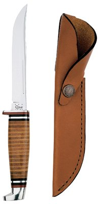 W R Case & Sons Cutlery 00381 Hunter Knife, With Leather Handle & Sheath, 5-In. Swept Skinner Stainless Steel Blade, 9-1     Master Cutlery, Inc.