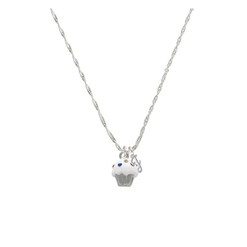 Small White Cupcake With Crystal Sprinkles Mini Gelato Initial - J - Grace Necklace