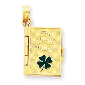14K Enamel Irish Prayer Book Pendant - JewelryWeb